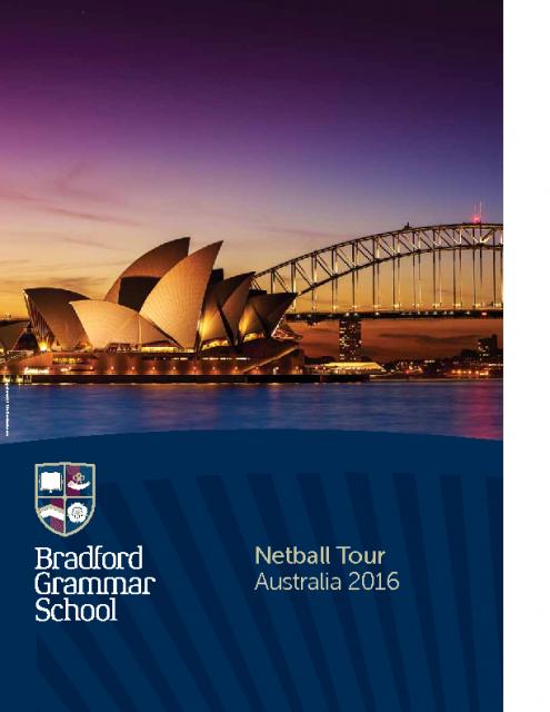 Netball tour brochure: 2016